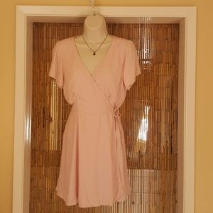 Soft pink wrap dress